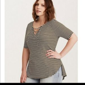 TORRID STRIPED LACE UP TOP